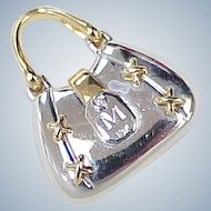 Vintage 18k Gold & Diamond Moving Charm or Pendant ~ Handbag / Purse, Two Tone