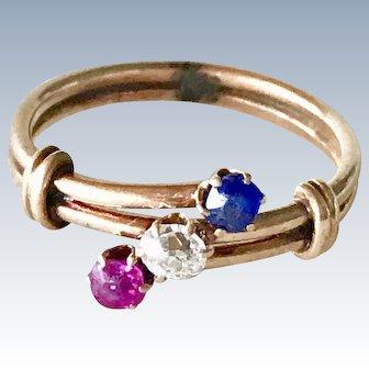Victorian Era Patriotic Ring Sapphire, Diamond & Ruby 10K Rose Gold