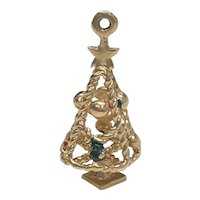 Christmas Tree Vintage Charm 14K Gold Three-Dimensional