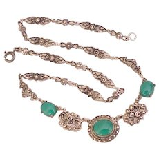 Art Deco Necklace Sterling Silver Chrysoprase & Marcasite