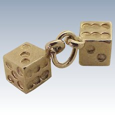 Pair of Dice Vintage Charms 14K Gold Three-Dimensional