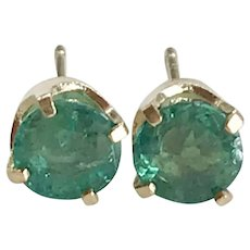 Classic Natural Emerald Vintage Stud Earrings 14K Gold .70 ctw