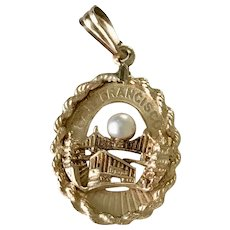 San Francisco Jeweled Vintage Charm 14K Gold & Cultured Pearl