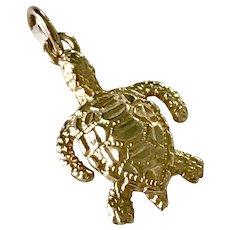 Sea Turtle Nautical Charm 14K Gold Three-Dimensional