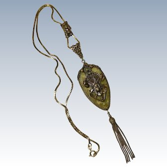 AmAZing Edwardian Egyptian Revival Slide Necklace 18K Gold, Gold Filled & Bakelite