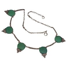 Art Deco Necklace Wachenheimer Sterling Silver Chrysoprase & Marcasite