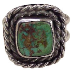 South-West Hand Crafted Ring Sterling Silver & Turquoise Double Shank