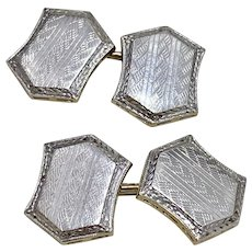 Platinum Top 14K Gold Cuff-Links
