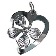 Lucky Four Leaf Clover & Heart Vintage Charm Sterling Silver Three-Dimensional