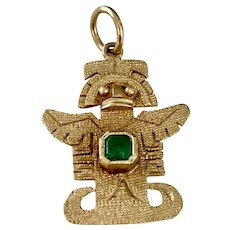 Pre-Columbian Gold Figure Charm 18K Gold Emerald Accent