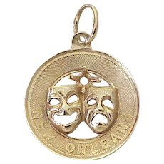 New Orleans Comedy & Tragedy Mask Vintage Charm 14K Gold