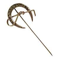 Victorian Stick Pin, Equestrian Design 10K Gold Paste/Glass Gemstones