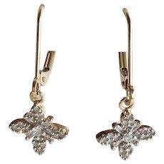 Petite Diamond Dangle Earrings 14K Two-Tone Gold