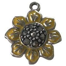 Sunflower Vintage Charm Sterling Silver Enamel & Marcasite