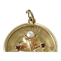 Romantic Jeweled Charm 14K Gold Cultured Pearl & Amethyst
