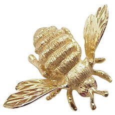 Honey Bee Pin 14K Gold Ruby Accent