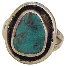 Vintage Hand Crafted Ring Sterling Silver & Turquoise circa 1980's