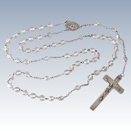 Vintage Rosary Sterling Silver & Aurora Borealis Faceted Crystal circa 1950's