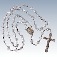 Vintage 1940's Rosary Sterling Silver & Cut Glass by Catamore