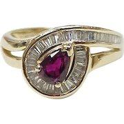 Ruby & Diamond Ring 1.10 Carats Gem Weight 14K Gold