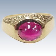 Edwardian Era Ruby Cabochon 3.38 Carats Solitaire Ring 18k Gold With Floral Accent