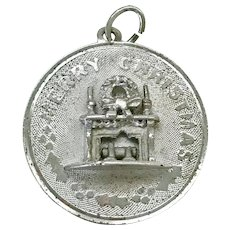 Merry Christmas Fireplace Vintage Charm Sterling Silver circa 1950's