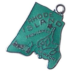 Rhode Island US State Vintage Travel Souvenir Enameled Charm Sterling Silver circa 1960's