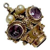 Big Jeweled Bauble/Ornament Vintage Charm 18K Gold Amethyst & Cultured Pearl