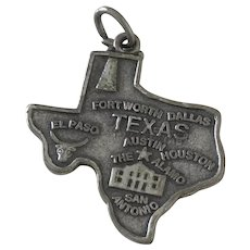 Texas US State Vintage Charm Sterling Silver