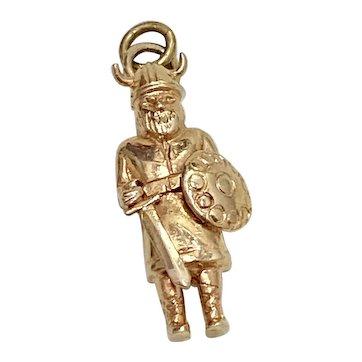 Viking Warrior Marauder Vintage Charm 14k Gold Three-Dimensional