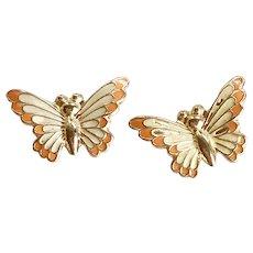 Butterfly Stud Earrings 14K Gold Enamel Accent