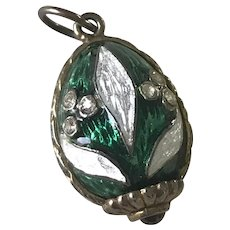 Faberge Egg Charm Sterling Silver Guilloche Enamel, Tourmaline