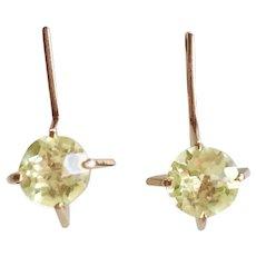 Russian Yellow Sapphire Vintage Drop Earrings 14K Rose Gold 2.60 ctw