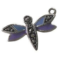 Dragonfly Vintage Charm Sterling Silver Enamel & Marcasite