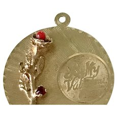Valentine Vintage Jeweled Charm 14K Gold Garnet & Faux Red Coral