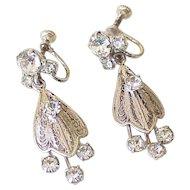 Glamorous Dangle Screw Back Earrings Sterling Silver & Rhinestone