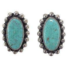 Native American Vintage Screw-Back Earrings Sterling Silver & Turquoise