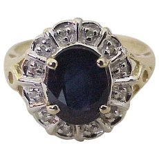 Sapphire & Diamond Vintage Ring 14K Two-Tone Gold 2.72 Carats Gem Weight