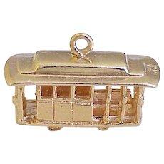 San Francisco Cable Car Vintage Charm 14K Gold Three-Dimensional circa 1970's
