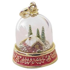 Rare Holiday Snow Globe Enameled Charm 14k Gold / Retired 1995