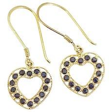 Sapphire Heart Dangle Earrings 18K Gold
