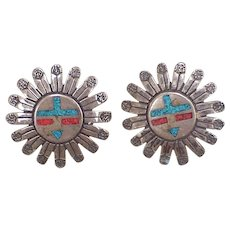Native American Sun Kachina Earrings Sterling Silver, Turquoise & Coral Chip