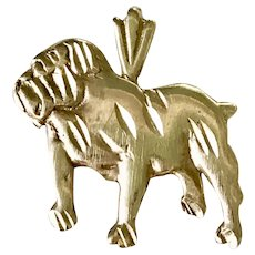 English Bulldog Vintage Charm 14K Gold