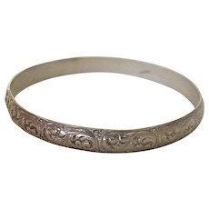 Vintage Sterling Silver Bangle Bracelet, Ornate Embossed Design Circa 1940's