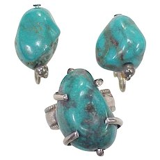 Vintage Screw-Back Earrings & Ring Sterling Silver & Turquoise