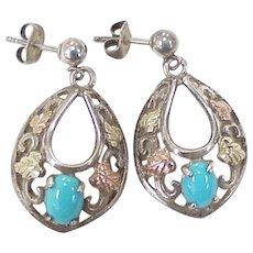 Southwest Dangle Earrings Sterling Silver 12k Gold & Turquoise