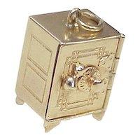 Vintage 14k Gold Mechanical Charm ~ SAFE, Three Dimensional circa 1940-50's