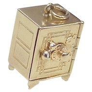 Vintage 14k Gold Mechanical Charm ~ SAFE, Three Dimensional circa 1940-50's
