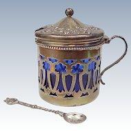 Sterling Silver Lidded Master Salt With Cobalt Glass Liner & Spoon