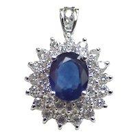 Vintage Sapphire & Diamond 3.86 Carats Gemstone Pendant 18k White Gold circa 1980's
